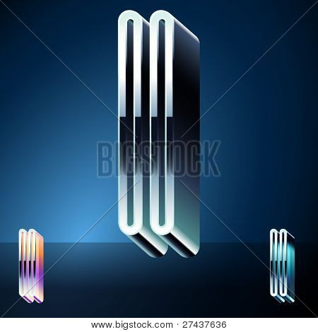 Three-dimensional ultra-modern alphabet from chrome or metal letters. Character i