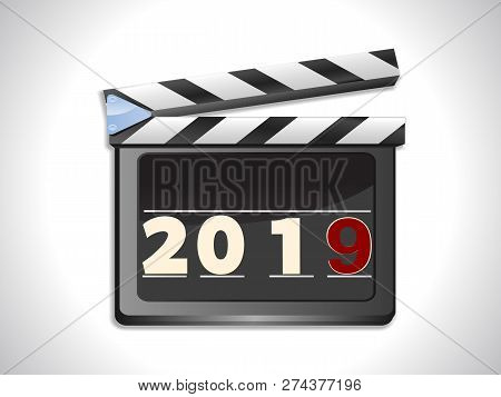 Illustration Of Film Slate Ciak With 2019 In Numbers And A Red Number 9 Background