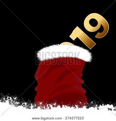 Red Festive Sac Containing 2019 Date In Golden On Snow Over Black Background