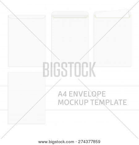 Vector Blank White Paper C4 Envelope Template Envelopes Mockup Front And Back View Realistic Style Ilration Eps 10