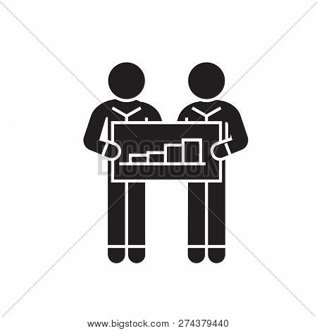 Cooperation People With Graph Black Vector Concept Icon. Cooperation People With Graph Flat Illustra