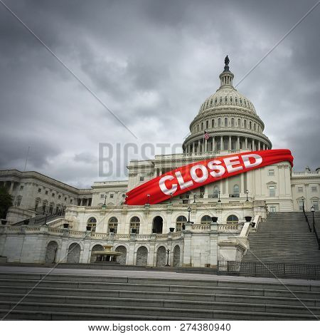Usa Shutdown And United States Government Closed And American Federal Shut Down Due To Spending Bill