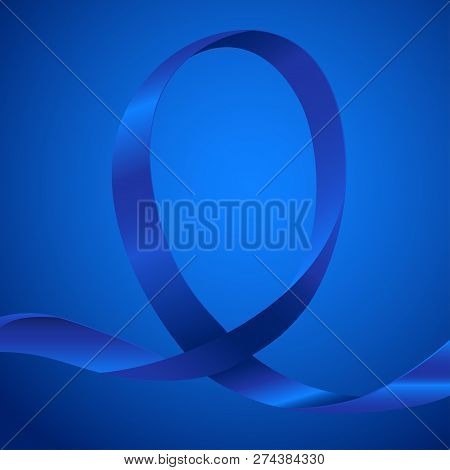 Blue Ribbon For Awareness, Background Template With Copy Space For Cover, Page Or Advertisement Desi