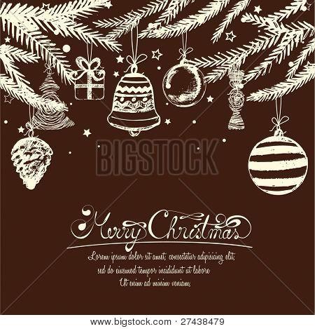 Abstract Handdrawn Retro Christmas Ornaments