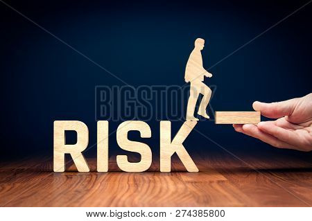 Risk Management Concept. Risk Manager Give Stability For Businessperson Which Can Do Step From Risky