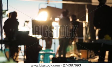 Blurred Images Of Behind The Scenes Of Filming Or Movie Shooting