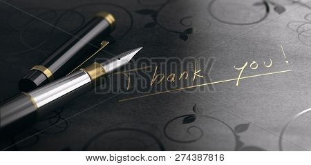 3d Illustration Of A Gratidude Message Over Black Background. Thank You Written In Golden Letters.