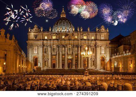 Basilica Di San Pietro With Firework, Rome, Vatican, Italy
