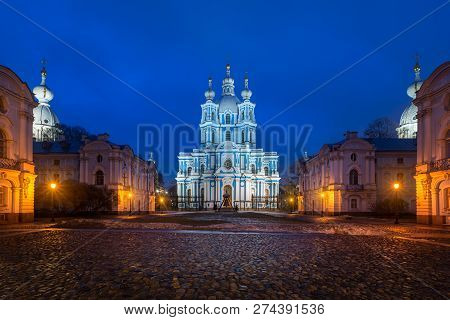 Cityscape In The Evening. View Of The Rastrelli Square And The Smolny Cathedral (built In Baroque St