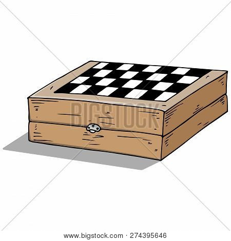Chess Board. Vector Illustration Game Of Chess, Checkers. Hand Drawn Wooden Board For Chess, Checker