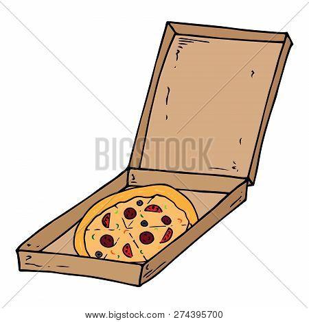 Pizza Box Icon. Vector Illustration Of Pizza In Box. Hand Drawn Pizza. Open Box With Delicious Pizza