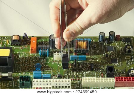 Microelectronics Engineering And Technology Concept. Electronic Board. Detail For Electronic Circuit