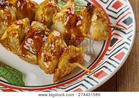 Chicken Teriyaki Kabobs , Close Up Meal Skewers