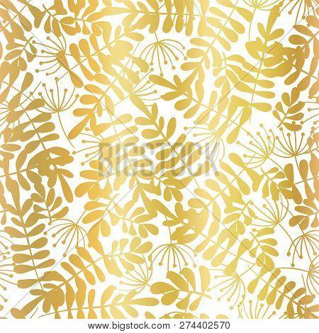 Gold Foil Leaves Seamless Vector Background. Golden Abstract Leaf Shapes On White Background. Elegan