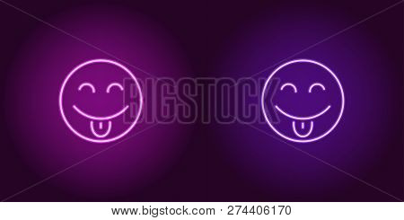 Neon Illustration Of Teasing Emoji. Vector Icon Of Cartoon Teasing Emoji With Tongue And Narrowed Ey