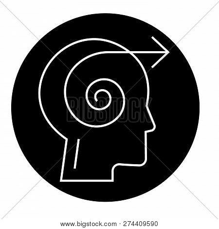 Focus Decision Head Black Vector Concept Icon. Focus Decision Head Flat Illustration, Sign