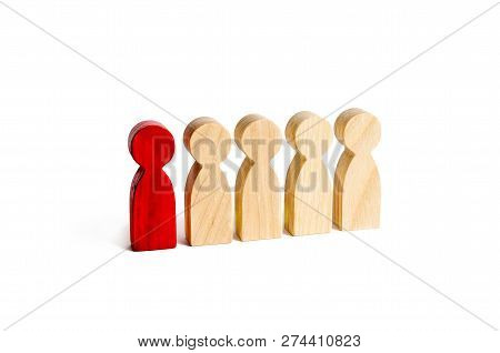 A Red Man Stands With People In A Row On A White Background. The Concept Of Exceptional And Talented
