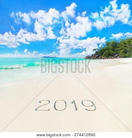 Perfect Tropical Palm Sandy Beach Anse Georgette At Praslin Island, Seychelles, Caption 2019 Year Ha