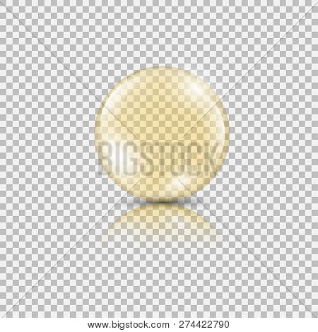 Bright Gold Drop Of Oil Essence. Vector Illustration Isolated On Transparent Background. Shining Dro