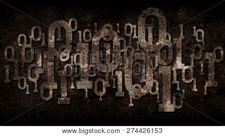 Rusty Matrix Binary Code, Outdated Software, Dark Rusted Background With Digital Binary Code, Cloud