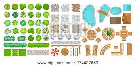 Vector Illustration Set Of Park Elements For Landscape Design. Top View Of Trees, Outdoor Furniture,