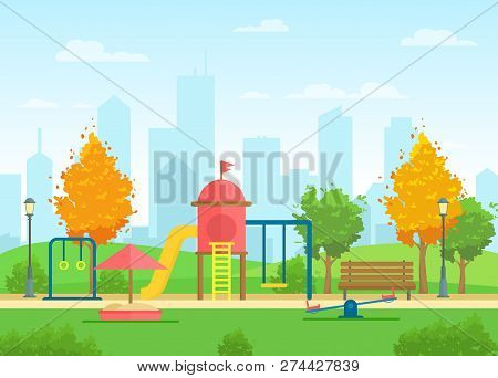 Vector Illustration Of Public City Park With Playground For Children And Urban City Landscape On The