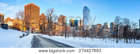 Panoramic view on Boston public garden at winter