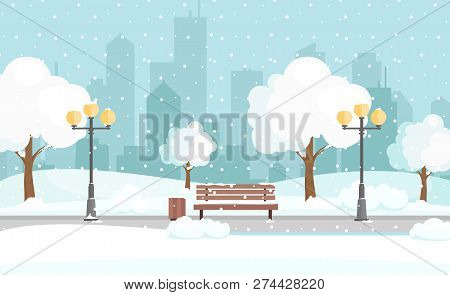 Vector Illustration Of Winter City Park With Snow And Big Modern City Background. Bench In Winter Ci