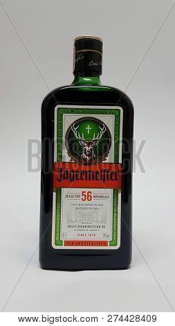 Pula, Croatia - Dec. 12 2018 - Jägermeister Herbal Liqueur Is Now Available. Jagermeister Is Describ
