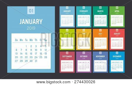 Year 2019 Colorful Printable Calendar. One Page Per Month. Week Starts Sunday. Vector Template.