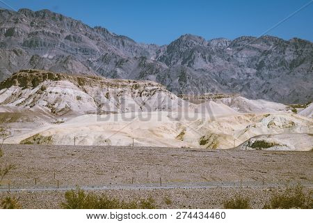 Desert And Mountain Landscape Of Panamint Mountain Range In Death Valley National Park