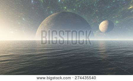 3d Illustration Of  Alien Planet Ocean In Space With Nebula And Stars. Alien Planet Sea In Space, Su