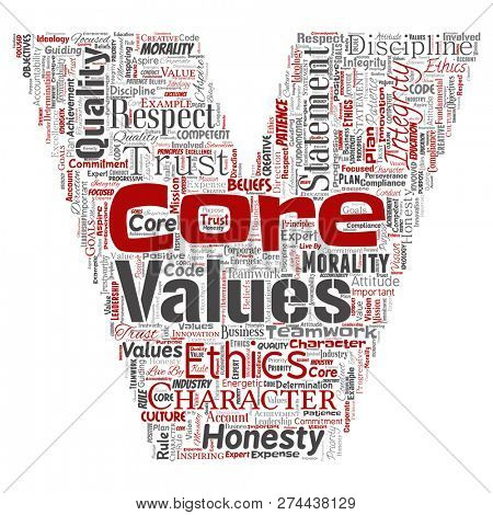 Conceptual core values integrity ethics letter font C concept word cloud isolated background. Collage of honesty quality trust, statement, character, perseverance, respect and trustworthy