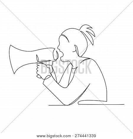 Continuous Single Drawn One Line Girl Woman Speaks Loudspeaker Hand-drawn Picture Silhouette. Line A