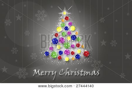 Christmas tree with bright baubles