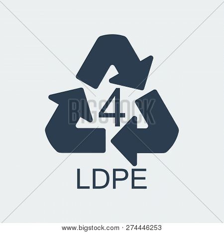 Plastic Recycling Symbol Ldpe 4,wrapping Plastic, Label. Packing Sign For Food.vector Design
