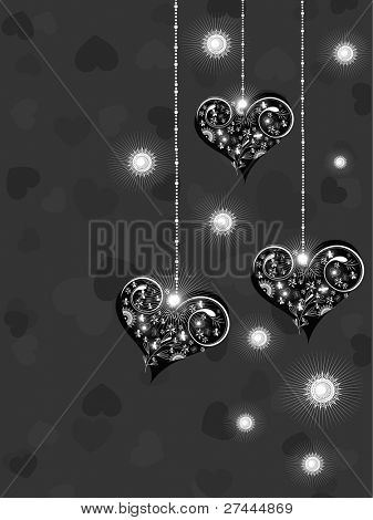 Valentine greeting card with hanging shiny hearts on black hearts shape background for Valentine Day.