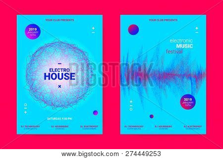 Music Event Banner. Techno Sound Wave Poster. Vector Amplitude Of Dotted Lines. Wave Music Equalizer