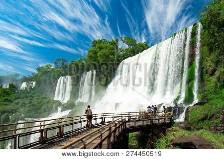 View Of Iguazu Falls, One Of The Seven New Wonders Of Nature, In Brazil And Argentina