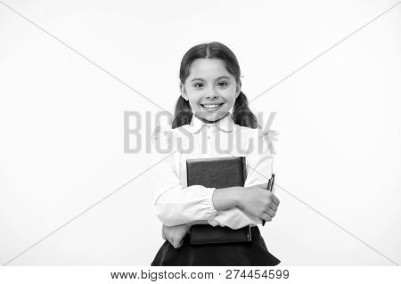 I Am Ready For School. Child School Uniform Smart Kid Done With Homework. Girl Cute Happy Face Yello
