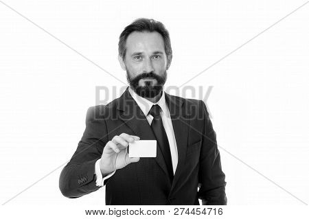 Let Me Introduce Myself. Feel Free To Contact Me. Businessman Hold Plastic Blank White Card. Busines