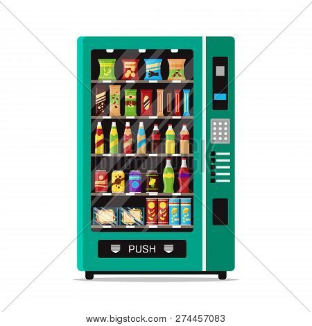 Full Vending Machine With Fast Food Snacks And Drinks Isolated On White. Automat Vendor Machine Fron
