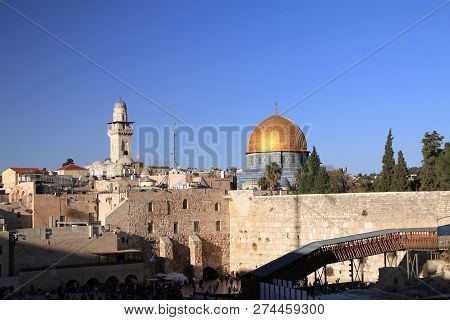 View On East Wall And Mosque In Jerusalem, Israel