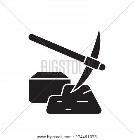 Mining Of Minerals Black Vector Concept Icon. Mining Of Minerals Flat Illustration, Sign