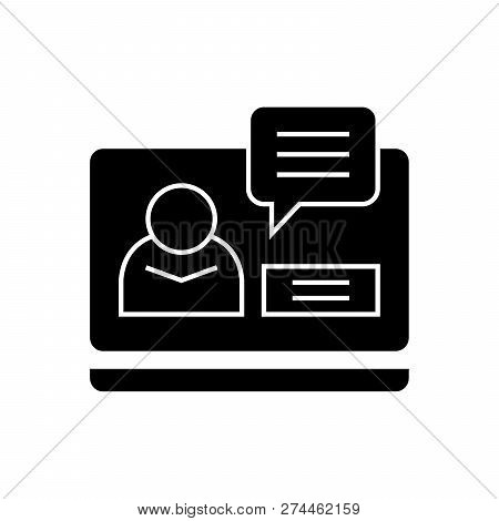 Online Conference Black Vector Concept Icon. Online Conference Flat Illustration, Sign