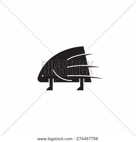 Porcupine Black Vector Concept Icon. Porcupine Flat Illustration, Sign