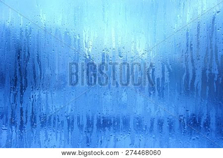 Blue Frost Background, Closeup Frozen Winter Window Pane Coated Shiny Icy Frost Patterns, Extreme North Low Temperature, Natural Ice Pattern on a Frosty Glass, Turquoise Cool Winter Abstract Ice Glass
