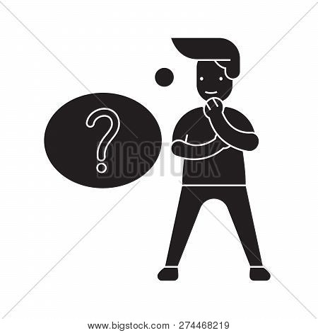 Question Solving Black Vector Concept Icon. Question Solving Flat Illustration, Sign
