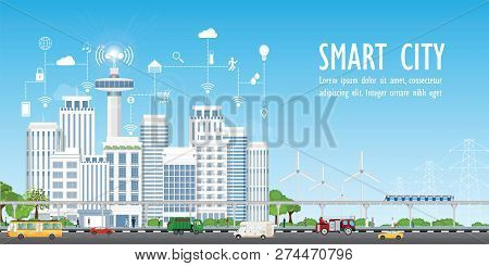 Smart City On Urban Landscape With Different Icons And Elements, Urban Landscape With Modern Buildin