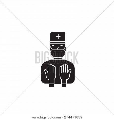 Therapeutic procedures black vector concept icon. Therapeutic procedures flat illustration, sign poster